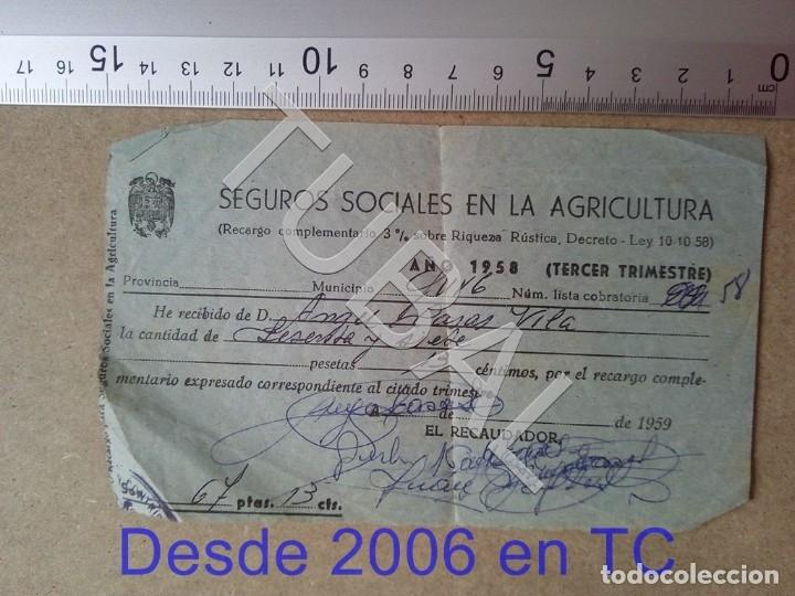 TUBAL GURB VICH SEGUROS SOCIALES EN LA AGRICULTURA 1958 ENVIO 70 CENT 2019 B05 (Coleccionismo - Documentos - Otros documentos)
