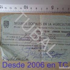 Documentos antiguos: TUBAL GURB VICH SEGUROS SOCIALES EN LA AGRICULTURA 1958 ENVIO 70 CENT 2019 B05. Lote 179244328