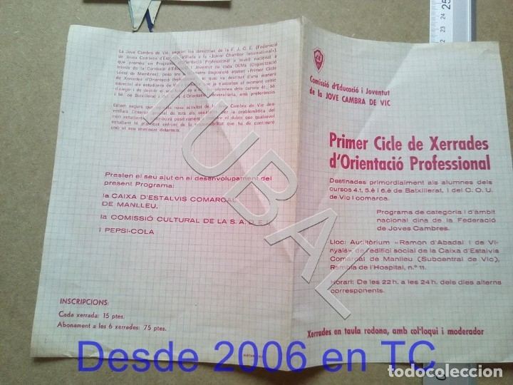 Documentos antiguos: TUBAL VICH 1970 JOVE CAMBRA DE VIC ENVIO 70 CENT 2019 B05 - Foto 3 - 179244470