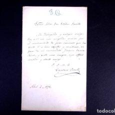 Documentos antiguos: CAYETANO ROSELL. DIRECTOR DE LA BIBLIOTECA NACIONAL. MADRID 1878. Lote 179310436