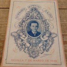 Documentos antiguos: SEVILLA, 1948, SALESIANOS, PROGRAMA FIESTAS EN HONOR DE SANTO DOMINGO SAVIO, DIPTICO. Lote 179326660