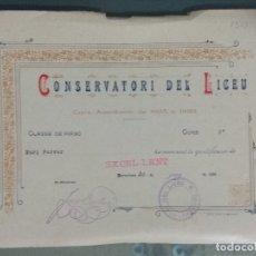 Documentos antiguos: DIPLOMA CONSERVATORI DEL LICEU - EXCELLENT.. Lote 179332230