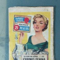 Documentos antiguos: CUPONES FEMINA. CARTILLA CON 18 PÁGINAS LLENAS.. Lote 179332520