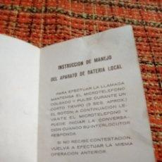 Documentos antiguos: INSTRUCCIONES USO TELÉFONO ANTIGUO. Lote 179341646
