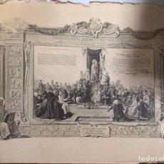 Documentos antiguos: DIPLOMA DE ACTO DE CONSAGRACION A LA SANTISIMA VIRGEN. JEREZ, 1915. MEDIDAS APROX.: 51X69 CM. Lote 179387088