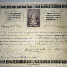 Documentos antiguos: PATENTENTE DE ADMISION NUESTRA SEÑORA DE CONSOLACION CON PATRONA DE JEREZ. JEREZ, 1910. Lote 179387528