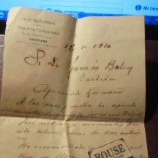 Documentos antiguos: MEDICINA - BARCELONA / CARDEDEU TOMAS BALVEY - CARTA FALLECIMIENTO DE SU HERMANO MIGUEL CASA DE CURA. Lote 179389317