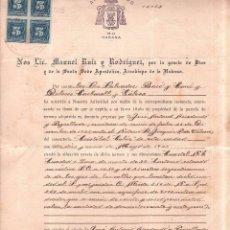 Documentos antiguos: CEMENTERIO DE COLON, LA HABANA. ESCRITURA DE PROPIEDAD DE UNA PARCELA. 1926.. Lote 179389992