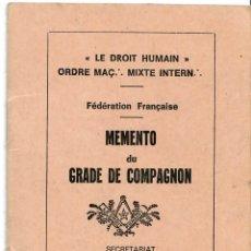 Documentos antiguos: GRADO DE OFICIAL FRANCMASON - MASONERIA - MASON - DOCUMENTO SECRETO - 1984 - 130 X 100 MM. Lote 179528667