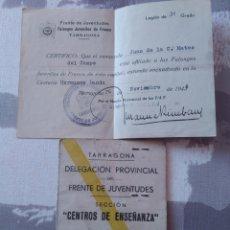 Documentos antiguos: AFILIACIÓN FALANGES JUVENILES Y CARNET ENSEÑANZA DE LA DELEGACIÓN FRENTE DE JUVENTUDES. AÑO 1944 45. Lote 179612015