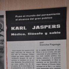 Documentos antiguos: TRES HOJAS REVISTA ANTIGUA REPORTAJE KARL JASPERS. Lote 179961361