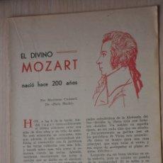 Documentos antiguos: CINCO HOJAS REVISTA ANTIGUA REPORTAJE MOZART. Lote 179961507