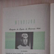 Documentos antiguos: DOS HOJAS REVISTA ANTIGUA REPORTAJE MENDIJUR CAMPEON DE ESPAÑA CICLOCROSS 1964. Lote 179961646