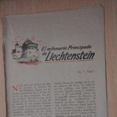 Documentos antiguos: DOS HOJAS REVISTA ANTIGUA REPORTAJE LIECHTENSTEIN. Lote 179961778