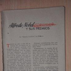 Documentos antiguos: TRES HOJAS REVISTA ANTIGUA REPORTAJE ALFREDO NOBEL Y SUS PREMIOS. Lote 179961813