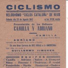 Documentos antiguos: CICLISMO VELODROMO CICLOS CATALUÑA DE REUS TARRAGONA 15X22 CTMS.. Lote 180006140
