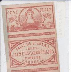Documentos antiguos: PAPEL DE FUMAR BLAS Mª PIERRAD CALLE STA. ANA REUS JAIME GAVARRO . Lote 180006637