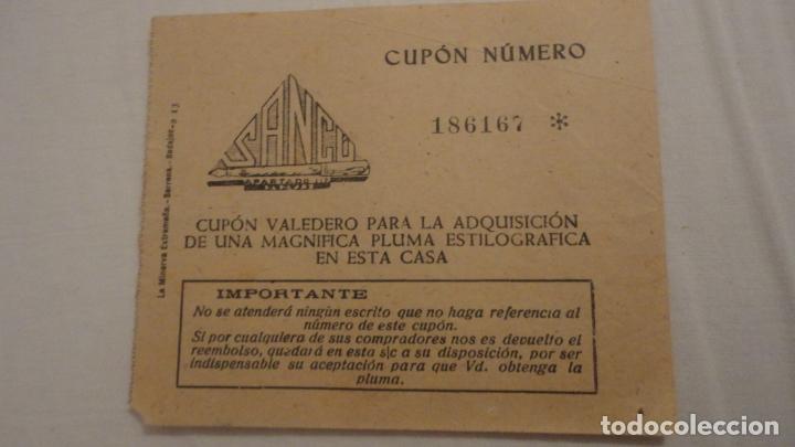 ANTIGUO CUPON ADQUISICION PLUMA ESTILOGRAFICA CASA SANCU.BADAJOZ.LA MINERVA EXTREMEÑA (Coleccionismo - Documentos - Otros documentos)