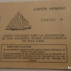 Documentos antiguos: ANTIGUO CUPON ADQUISICION PLUMA ESTILOGRAFICA CASA SANCU.BADAJOZ.LA MINERVA EXTREMEÑA. Lote 180080498