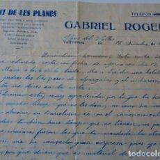 Documentos antiguos: PINS DEL VALLÉS. GUERRA CIVIL. FONT DE LES PLANES. GABRIEL ROGER. CARTA MANUSCRITA NOVIEMBRE 1938. Lote 180217070