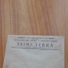 Documentos antiguos: SOBRE PUBLICITARIO JAIME FERRÁ. RON ORO. ANIS PASTORA. LLUBÍ. INCA. MALLORCA. DÉCADA 1950. Lote 180218690