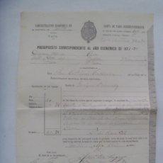 Documentos antiguos: ADMINISTRACION ECONOMICA - HACIENDA, SIGLO XIX : RECIBO DE PAGO AÑO ECONOMICO 1887-88. SEVILLA, 1878. Lote 180291167