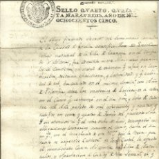 Documentos antiguos: 3695.- TARREGA LERIDA - CERTIFICADO DE ADMISION EN EL SEMINARIO PARA CURSAR FILOSOFIA AÑO 1805. Lote 180313626