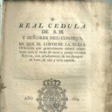 Documentos antiguos: 3695.- REAL CEDULA DE S.M. Y SEÑORES DEL CONSEJO-ORDENANZA MODO DE CAZAR Y PESCAR-VEDA. Lote 180314917
