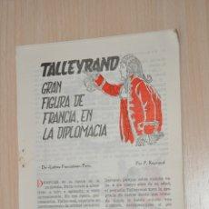 Documentos antiguos: OCHO HOJAS REVISTA ANTIGUA REPORTAJE TALLEYRAND. Lote 180401138