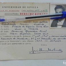 Documentos antiguos: UNIVERSIDAD DE SEVILLA - FACULTAD DE DERECHO: FICHA DERECHO ROMANO. 1951 - 52. Lote 180420512