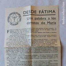 Documentos antiguos: SOBRE CON SELLO Y MATASELLO, PUBLICIDAD FATIMA, DESDE COIMBRA A MURCIA, 1964. Lote 180437336