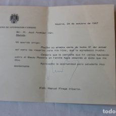 Documentos antiguos: MINISTIERIO DE INFORMACION Y TURISMO 1967, FIRMADO MANUEL FRAGA IRIBARNE, MATASELLO MINISTERIO. Lote 180437672