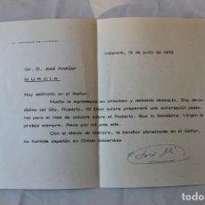 Documentos antiguos: OFICIO ARZOBISPO DE VALENCIA 1970, CON FIRMA, SOBRE Y SELLO. Lote 180438083