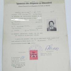 Documentos antiguos: CERTIFICACION DEL CONSULADO GENERAL DE LA REUBLICA DE CUBA EN MADRID 1958, REGISTRO DE CIUDADANOS CU. Lote 180445357