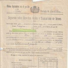 Documentos antiguos: IMPUESTO SOBRE DERECHOS REALES PUEBLO DE VIVER CASTELLON 1922 - -R-7. Lote 180452035