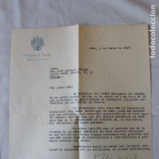 Documentos antiguos: AGRADECIMIENTO EMBAJADA DE ESPAÑA EN LIMA, 1969, CON SOBRE. Lote 180458711