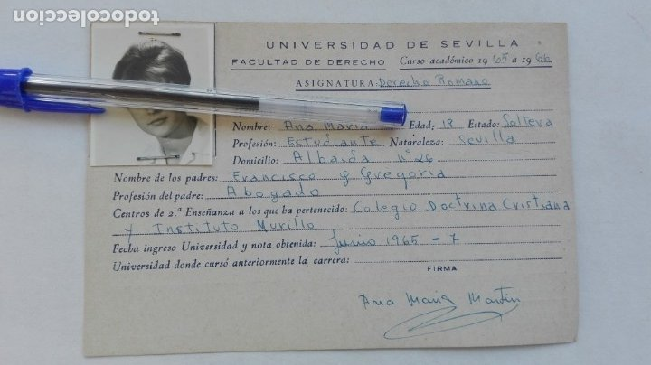 UNIVERSIDAD DE SEVILLA - FACULTAD DE DERECHO: FICHA DERECHO ROMANO CHICA. CURSO 1965-66 (Coleccionismo - Documentos - Otros documentos)