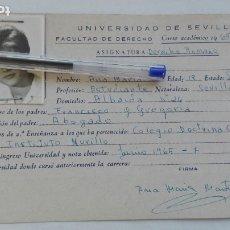 Documentos antiguos: UNIVERSIDAD DE SEVILLA - FACULTAD DE DERECHO: FICHA DERECHO ROMANO CHICA. CURSO 1965-66. Lote 180497623
