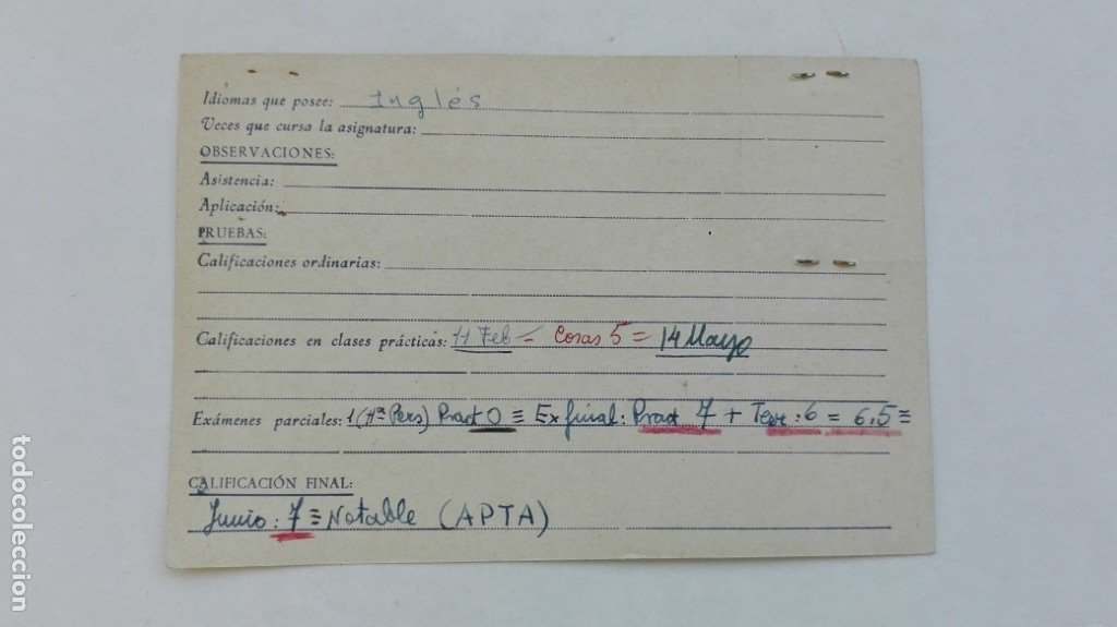 Documentos antiguos: UNIVERSIDAD DE SEVILLA - FACULTAD DE DERECHO: FICHA DERECHO ROMANO CHICA. CURSO 1965-66 - Foto 2 - 180497623