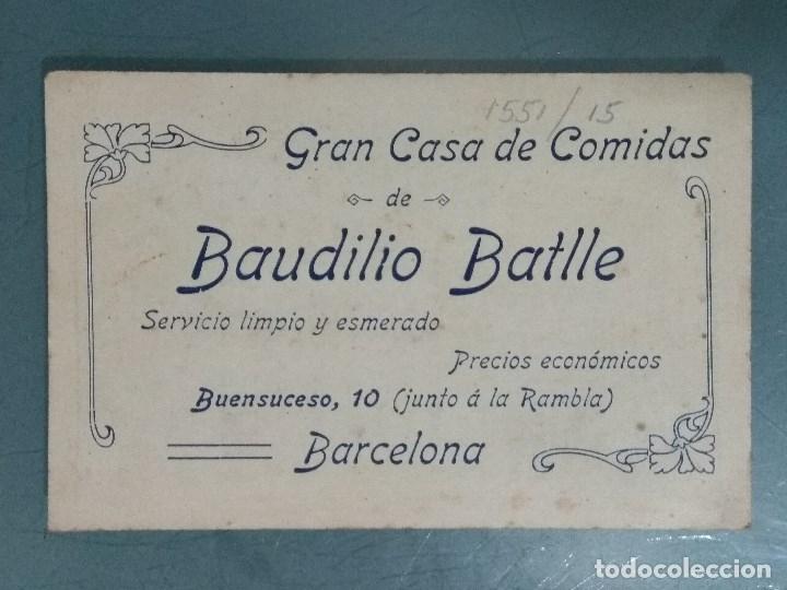 TARJETA COMERCIAL MUY ANTIGUA CASA DE COMIDAS. BAUDILIO BATLLE. (Coleccionismo - Documentos - Otros documentos)