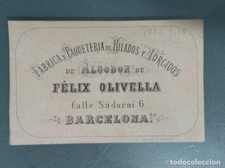 TARJETA COMERCIAL MUY ANTIGUA FELIX OLIVELLA (Coleccionismo - Documentos - Otros documentos)