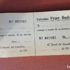 Documentos antiguos: FERROL TALONARIO COMPRA A CRÉDITO . Lote 180857193