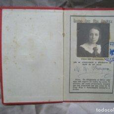 Documentos antiguos: CRUZ ROJA ESPAÑOLA. SEGUROS. CARNET ASEGURADO 1925. Lote 180857933