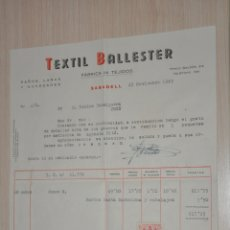 Documentos antiguos: FACTURA TEXTIL BALLESTER SABADELL 1949. Lote 180861610