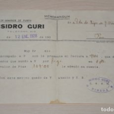 Documentos antiguos: HOJA ISIDRO GURI 1928, PINEDA. Lote 180861742