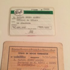Documentos antiguos: CARNET DE RENFE Y SOCIO MUTUALIDAD FERROVIARIA, TREN. Lote 180893691