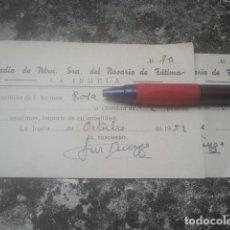 Documentos antiguos: LA IRUELA, JAÉN - COFRADÍA DEL ROSARIO DE FÁTIMA - PAREJA DE ANTIGUOS RECIBOS POR CUOTA ANUAL - 1952. Lote 180932735