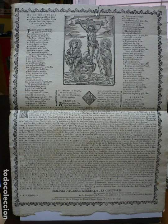 GOIGS DOLOROSOS DE LA SANTA IMATGE DEL SANT CHRISTO DEL HOSPITAL DE SANTA CREU. IMAGINERIA POPULAR. (Coleccionismo - Documentos - Otros documentos)