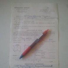 Documentos antiguos: HERMANOS ARMIJO - MARMOLEJO, JAÉN - TALLER DE MÁRMOLES - HOJA PEDIDO FAMILIA DE MENGÍBAR - AÑOS 70. Lote 181123493