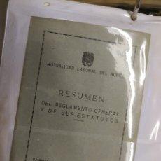 Documentos antiguos: MUTUALIDAD LABORAL DEL ACEITE, RESUMEN DEL REGLAMENTO Y ESTATUTOS 1954.. Lote 181154955